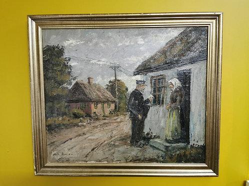 'The Postman' Oil on canvas by Oskar Staack