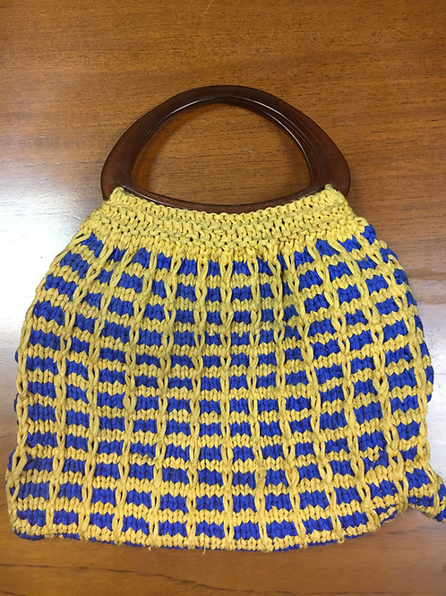 Vintage Yellow & blue knitting bag