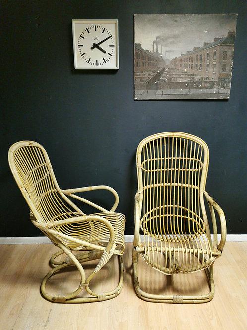 Pair of Italian mid century bamboo chairs