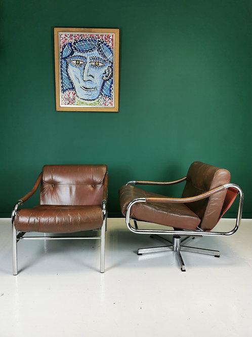 Pieff Kadia 3 piece suite chrome and brown leather