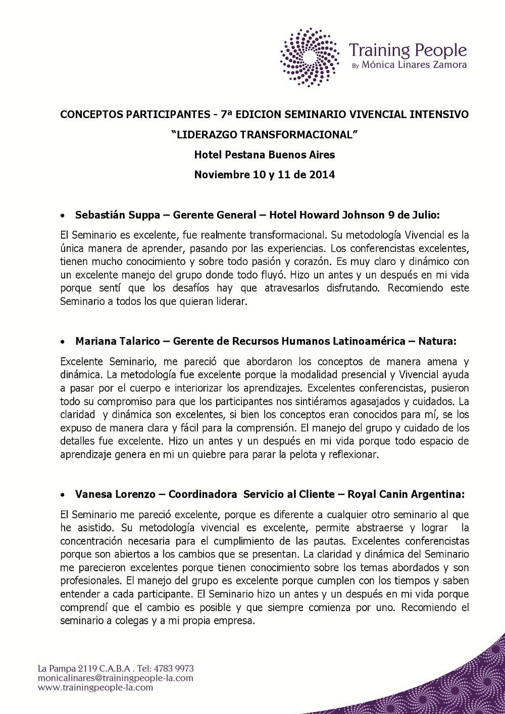 7a EDICION - CONCEPTOS PARTICIPANTES SEMINARIO DE LIDERAZGO TRANSFORMACIONAL- NO