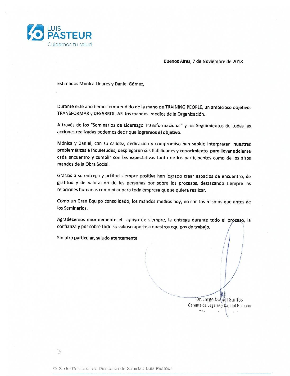 RECOMENDACIÓN OBRA SOCIAL LUIS PASTEUR N
