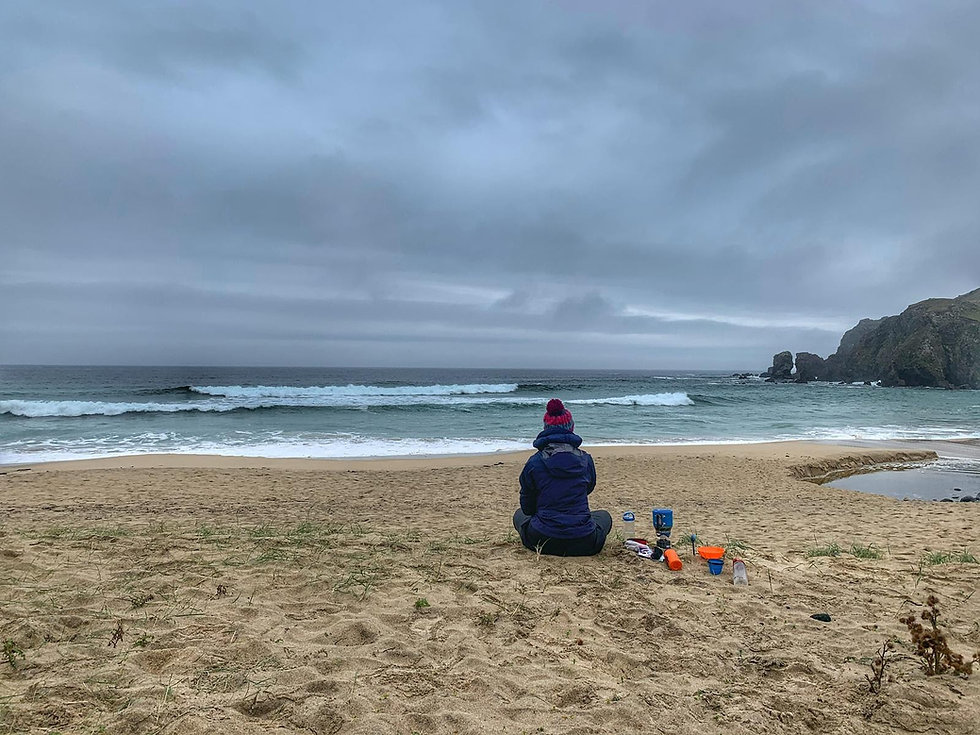 Rosie Baxendine on the beach in the Outer Hebrides