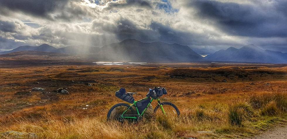 image of bike with bikepacking setup in Scotland