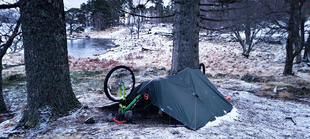 Bikepacking in winter conditions - bivvi Tarp shelter