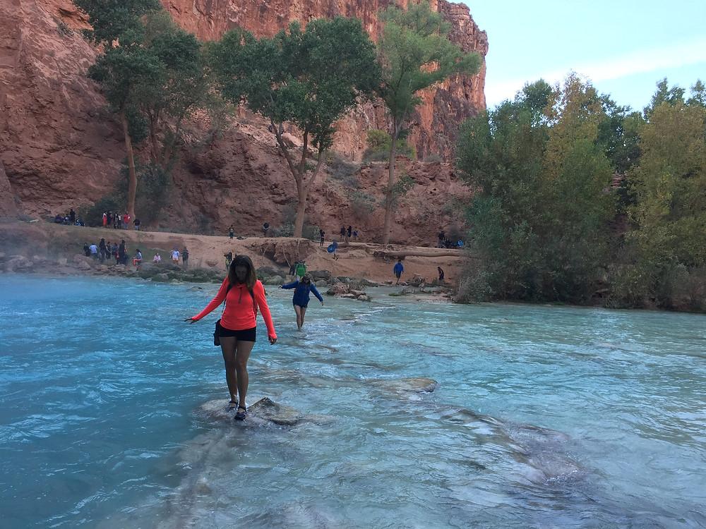 havasu fall women water hiking travel