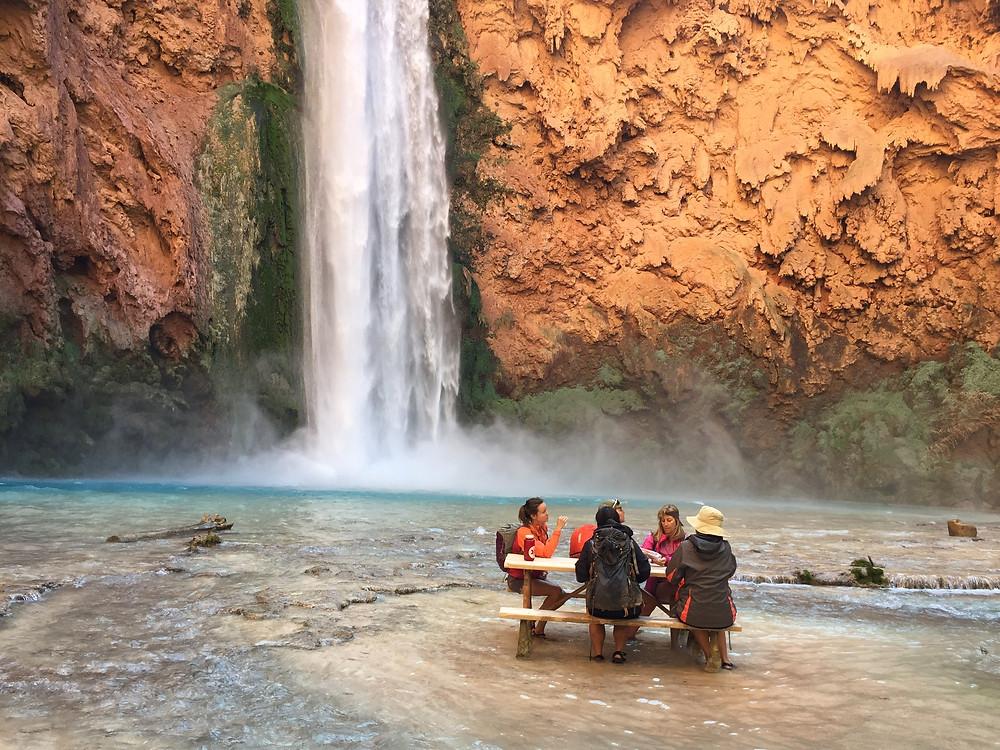 mooney falls outdoors water hiking picnic