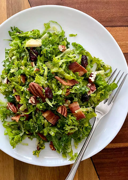 kale and shaved brussels sprout salad wi