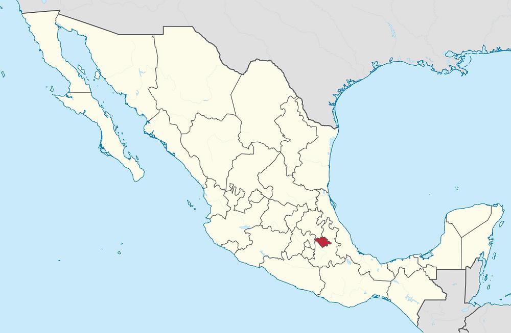 Stan Tlaxcala na mapie Meksyku (Wikipedia)