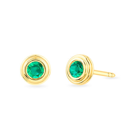 18k yellow gold and emeralds earrings
