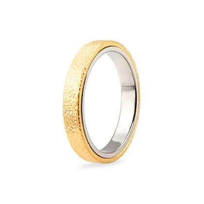 18k yellow and white gold band ring