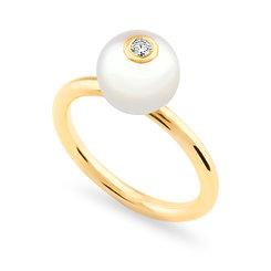18k yellowgold, freshwaterpearlanddiamond ring