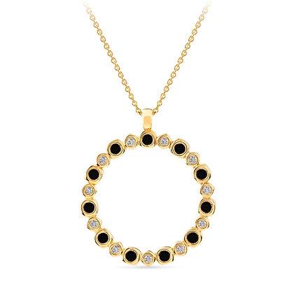 18k yellow gold, black diamonds and white diamonds pendant