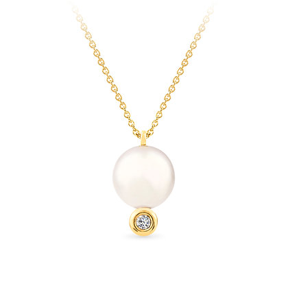 18k yellow gold, freshwater pearl and diamond pendant