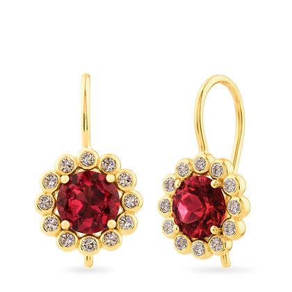 18k yellow gold, garnets anddiamonds earrings