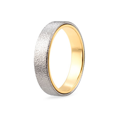 18k white and yellow gold band ring