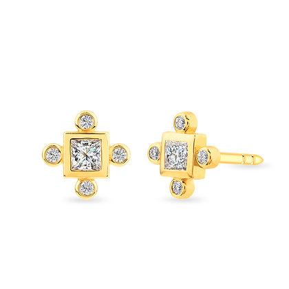 18k yellowgold and diamonds earrings