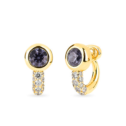 18k yellow gold, grey spinel and diamonds earrings