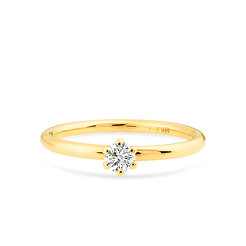18k yellow gold and diamond engagement ring