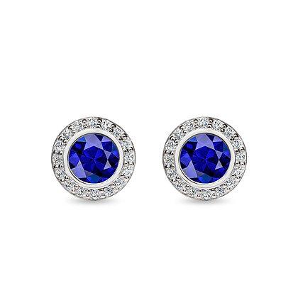 18k white gold, blue sapphire and white diamonds earrings