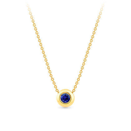 18k yellow gold and blue sapphire pendant