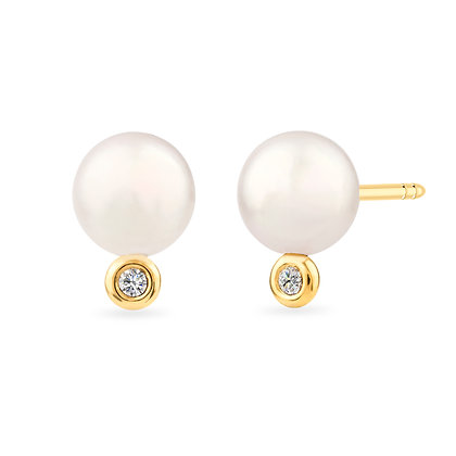18k yellow gold, pearls and diamonds earrings