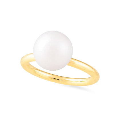 18k yellow gold and pearl ring