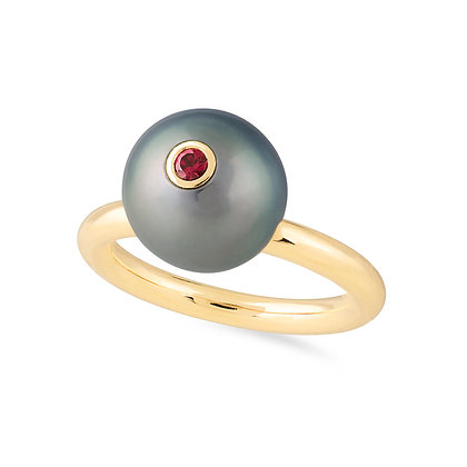 18k yellowgold, Tahitian pearl and ruby ring