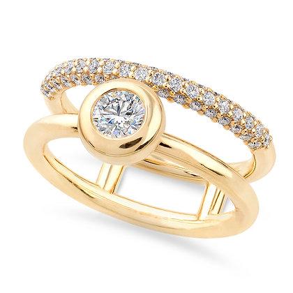 18k yellow gold and white diamonds ring