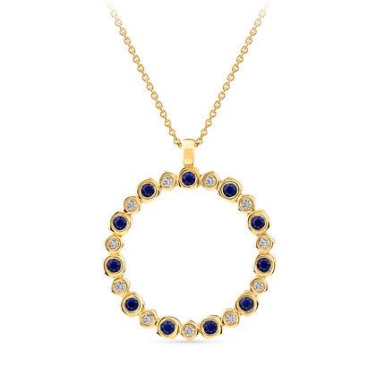 18k yellow gold, blue sapphires and diamonds pendant