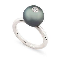 18k white gold, tahiti pearl and diamond ring