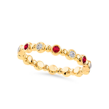 18k yellow gold, diamonds and rubies band ring