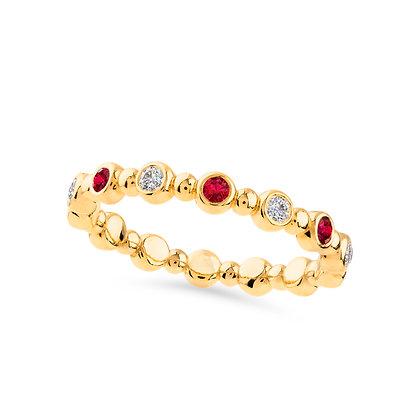18k yellow gold, diamonds and rubies ring