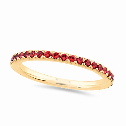 18k yellow gold and red rubies ring