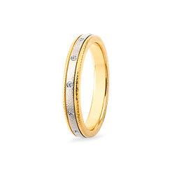 18k yellow, white gold and diamonds band ring