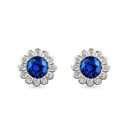 18k white gold, blue sapphires and diamonds earrings