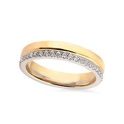 18k yellow and whitegold diamonds band ring