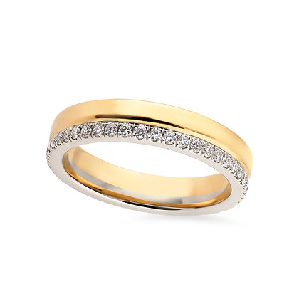 18k yellow and white gold diamonds band ring
