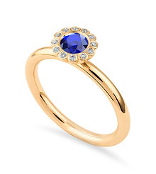 18k yellow gold, blue sapphire and diamonds ring
