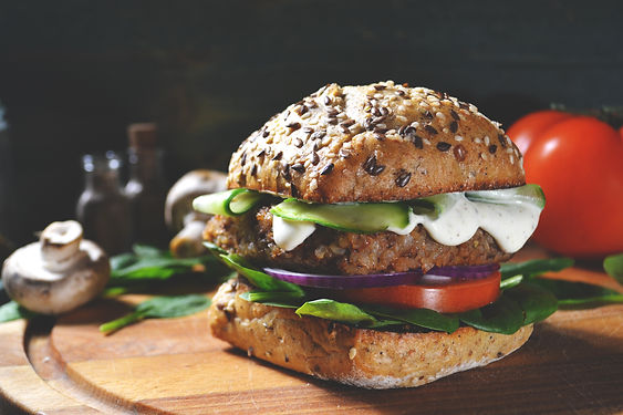 veggie, vegan burger with buckwheat, tom