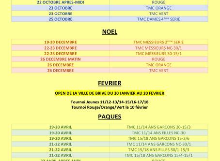 Calendrier des tournois 2020-2021