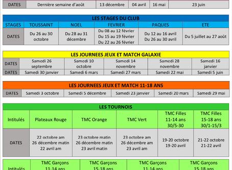 Planning école de tennis 2020-2021