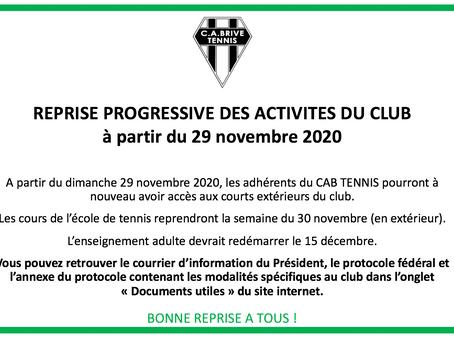 Reprise progressive des activités à partir du 29 novembre 2020