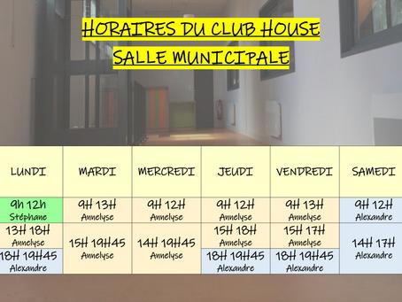 Horaires du club house de la salle municipale à partir du 2 novembre 2020