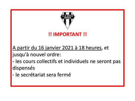 Interruption des cours et fermeture du secrétariat à partir du 16 janvier à 18 heures
