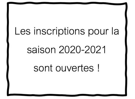 Inscriptions 2020-2021 > plaquette tarifs/bulletin d'inscription dans les Documents utiles