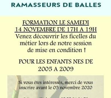 Formation ramasseur de balles le 14 novembre 2020
