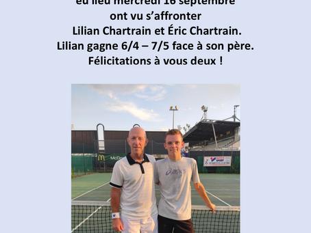 Tournoi interne, victoire de Lilian Chartrain. Félicitations !