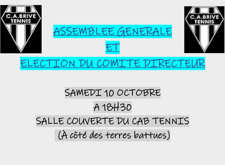 Assemblée générale du club le 10 octobre 2020 à 18h30