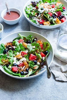 Nutritious and bright green salad with t